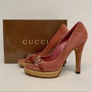 Women's Gucci Sunset Pumps, Pink Suede, 8, NIB